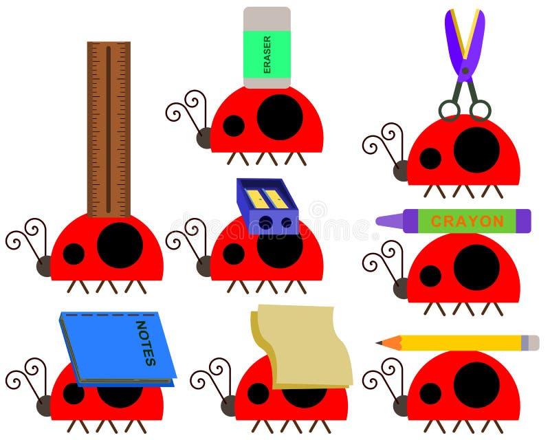 Σχολικές προμήθειες με ένα ζωύφιο απεικόνιση αποθεμάτων