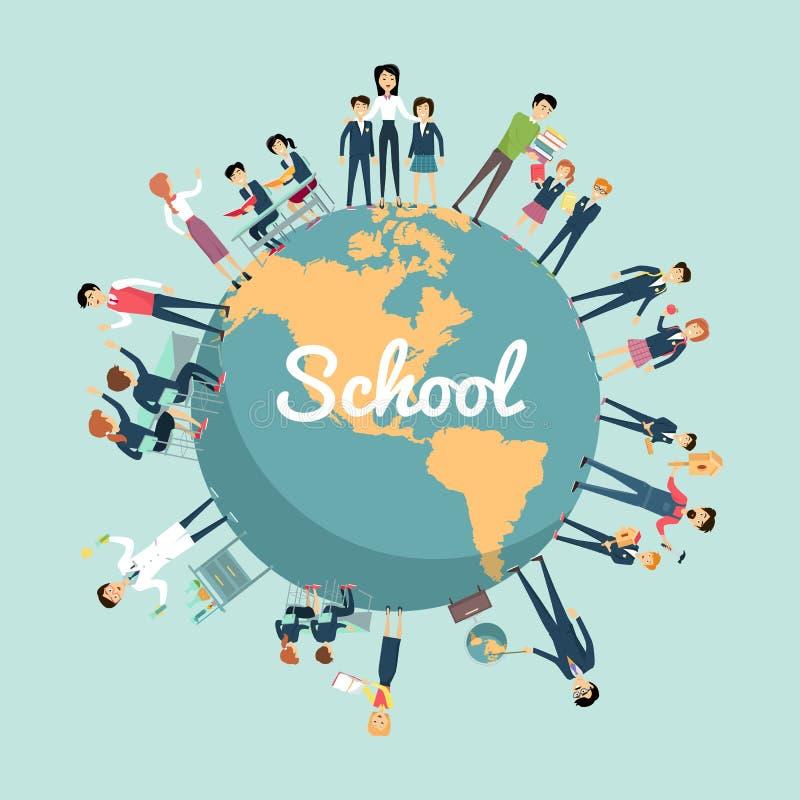 Σχολική εκπαίδευση στην παγκόσμια έννοια ελεύθερη απεικόνιση δικαιώματος