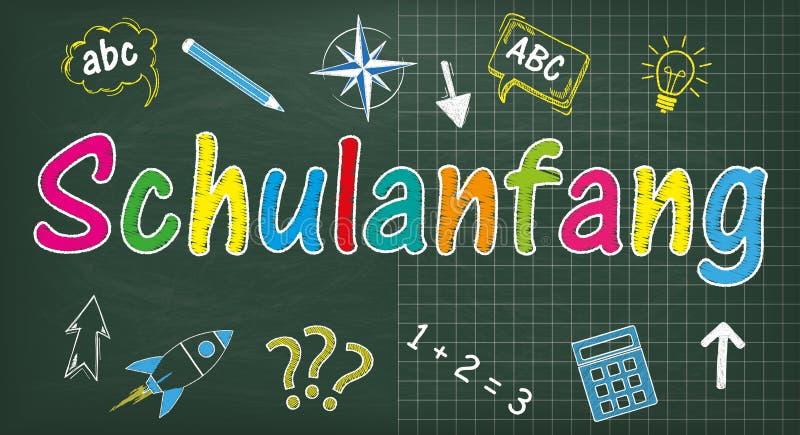Σχολικός πίνακας Schulanfang ελεύθερη απεικόνιση δικαιώματος