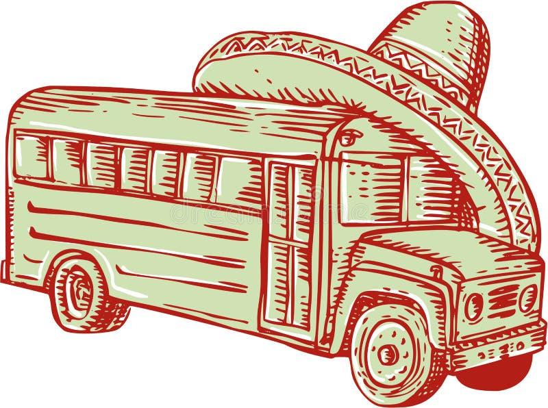 Σχολικό λεωφορείο χαρακτική σομπρέρο ελεύθερη απεικόνιση δικαιώματος
