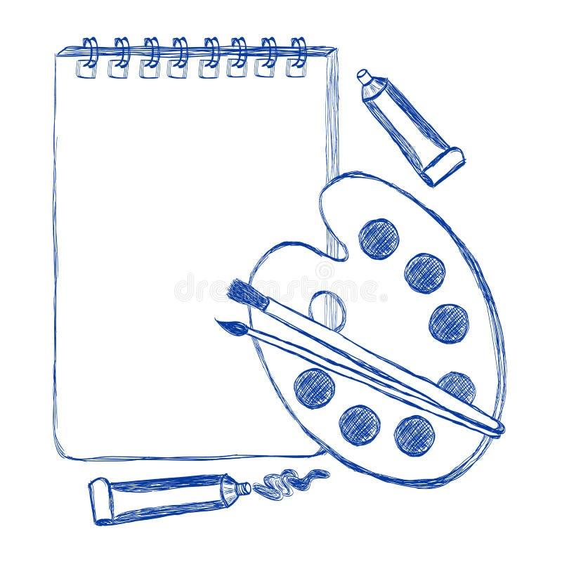 Σχολικό λεύκωμα και μάνδρα ύφους περιγράμματος παλετών ballpoint απεικόνιση αποθεμάτων