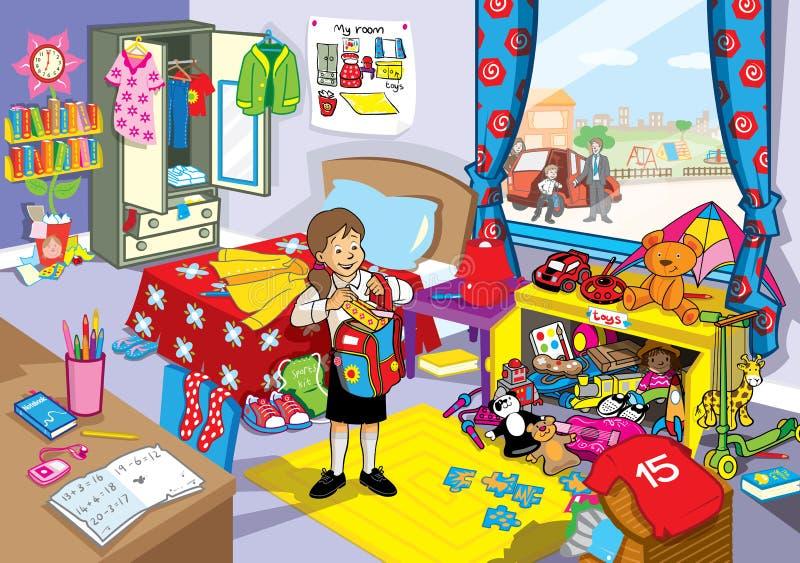 Σχολικό κορίτσι στην ακατάστατη κρεβατοκάμαρά της ελεύθερη απεικόνιση δικαιώματος