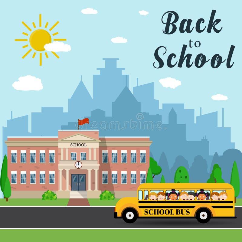 Σχολικό κτίριο και λεωφορείο απεικόνιση αποθεμάτων