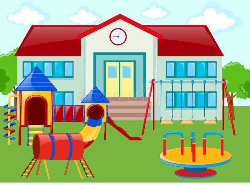 Σχολικό κτίριο και παιδική χαρά διανυσματική απεικόνιση