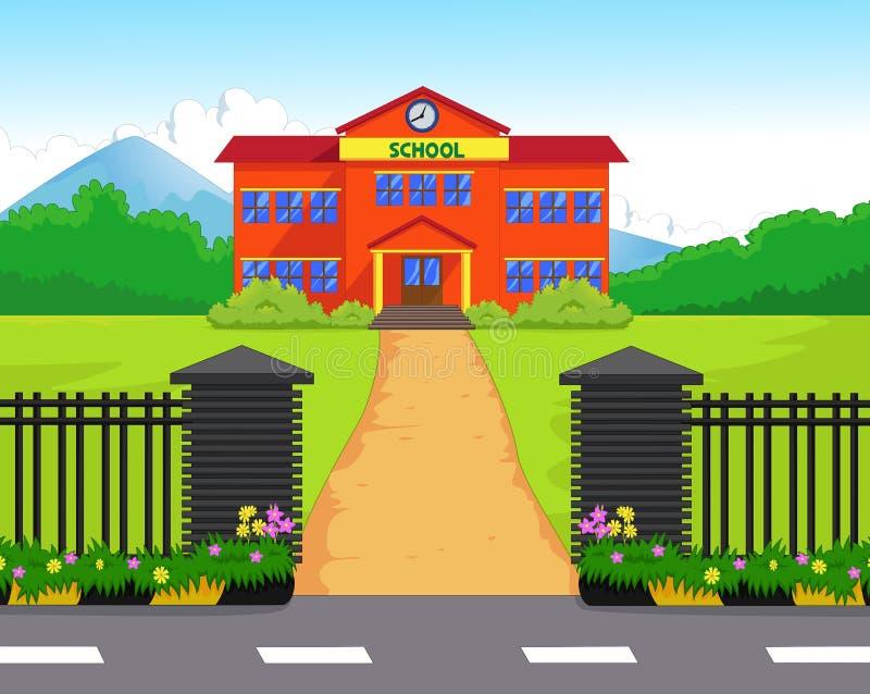 Σχολικό κτίριο κινούμενων σχεδίων με το πράσινο ναυπηγείο απεικόνιση αποθεμάτων