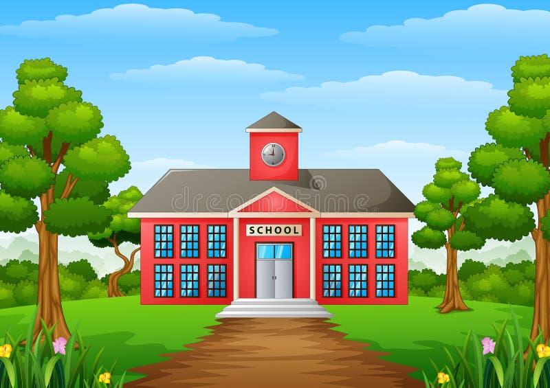 Σχολικό κτίριο κινούμενων σχεδίων με το πράσινο ναυπηγείο διανυσματική απεικόνιση