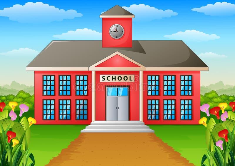 Σχολικό κτίριο κινούμενων σχεδίων με το πράσινο ναυπηγείο ελεύθερη απεικόνιση δικαιώματος