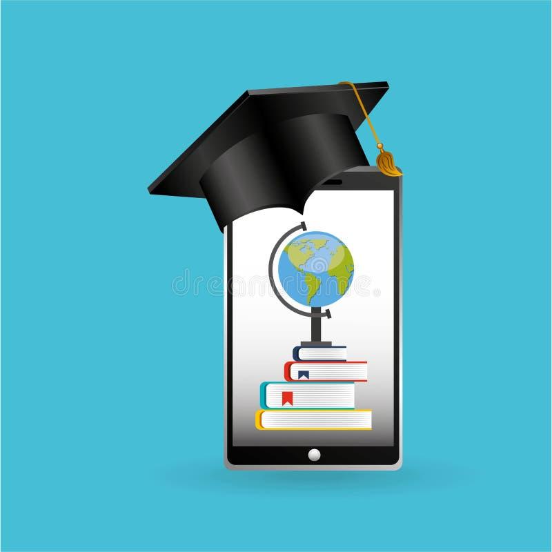 Σχολικό υπόβαθρο εκμάθησης achiviement έννοιας Eduation σε απευθείας σύνδεση διανυσματική απεικόνιση