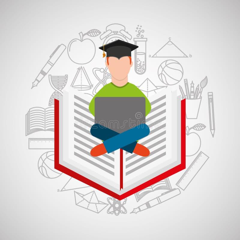 Σχολικό υπόβαθρο ε-εκμάθησης σπουδαστών έννοιας Eduation σε απευθείας σύνδεση απεικόνιση αποθεμάτων