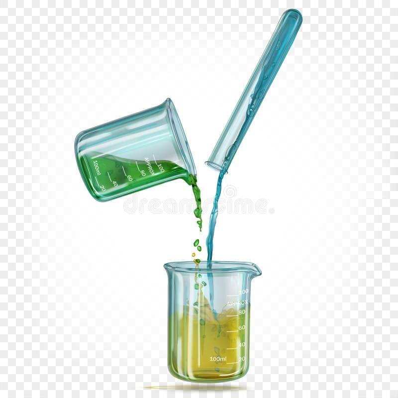 Σωλήνας δοκιμής εργαστηριακού γυαλιού και hemical κούπες Ñ  με ένα διαφανές ιριδίζον χρωματισμένο υγρό ελεύθερη απεικόνιση δικαιώματος
