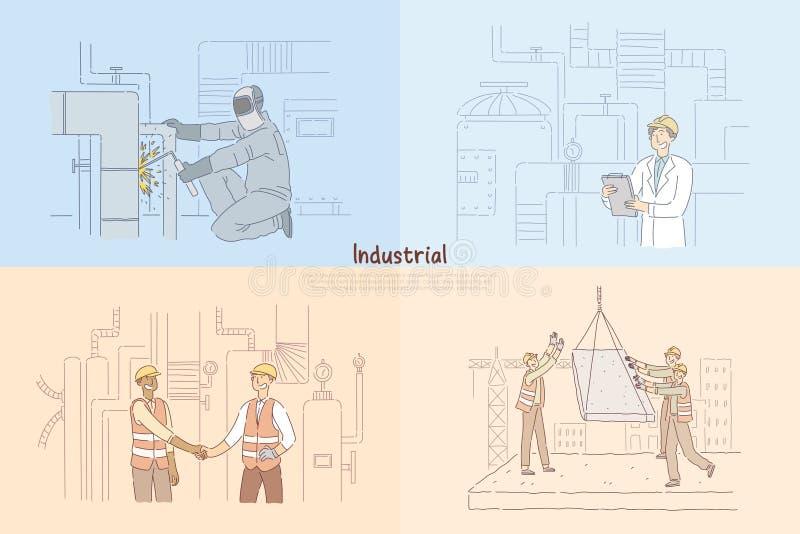 Σωλήνες συγκόλλησης ατόμων στο εργοστάσιο, που κατασκευάζει το μηχανικό που ελέγχει τον εξοπλισμό, εργάτες οικοδομών στο έμβλημα  απεικόνιση αποθεμάτων