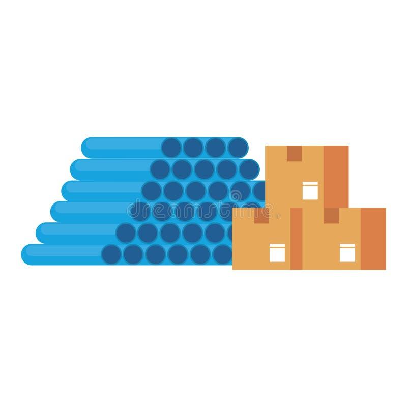 Σωλήνες PVC αποθηκών εμπορευμάτων και κιβώτια παράδοσης διανυσματική απεικόνιση