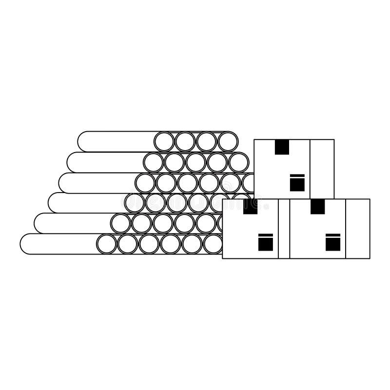 Σωλήνες PVC αποθηκών εμπορευμάτων και κιβώτια παράδοσης σε γραπτό διανυσματική απεικόνιση