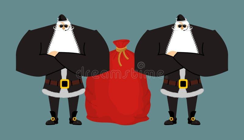 Σωματοφυλακές Άγιου Βασίλη Φρουρές ασφάλειας Χριστουγέννων Προστασία σχετικά με διανυσματική απεικόνιση