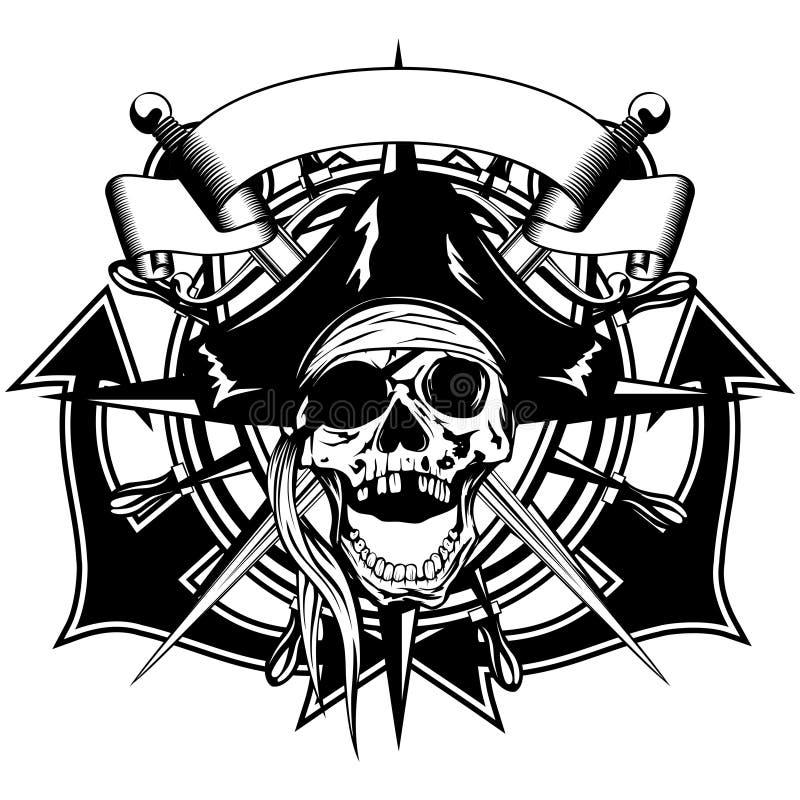 Σωριασμένο κρανίο καπέλο πειρατών διανυσματική απεικόνιση