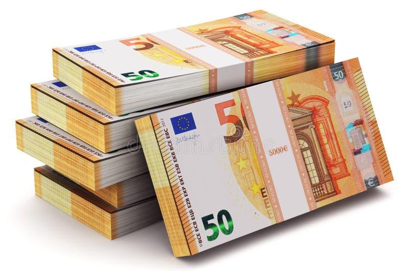 Σωροί 50 ευρο- τραπεζογραμματίων διανυσματική απεικόνιση