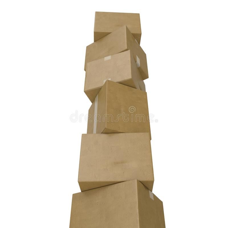 Σωροί των κουτιών από χαρτόνι που απομονώνονται στο λευκό στοκ εικόνες