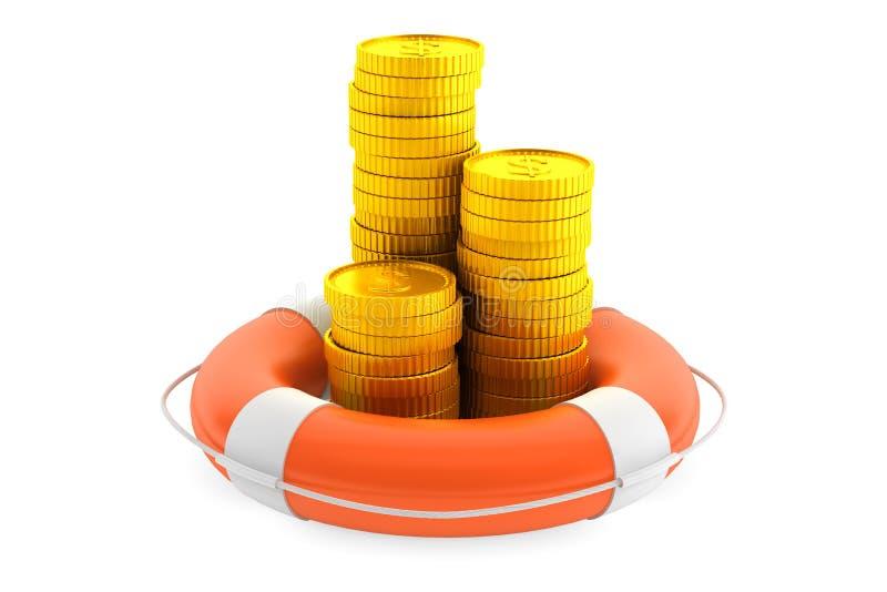 Σωροί των νομισμάτων με lifebuoy στοκ εικόνες