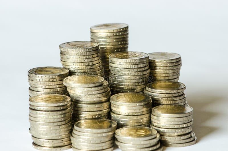 Σωροί των νομισμάτων στοκ εικόνες