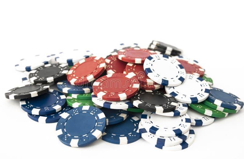 Σωροί των τσιπ πόκερ στοκ φωτογραφίες με δικαίωμα ελεύθερης χρήσης
