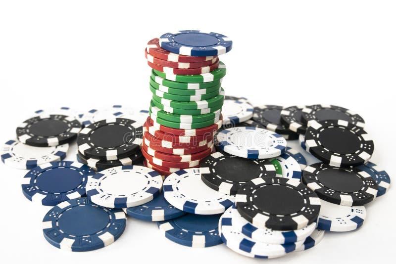 Σωροί των τσιπ πόκερ στοκ εικόνες