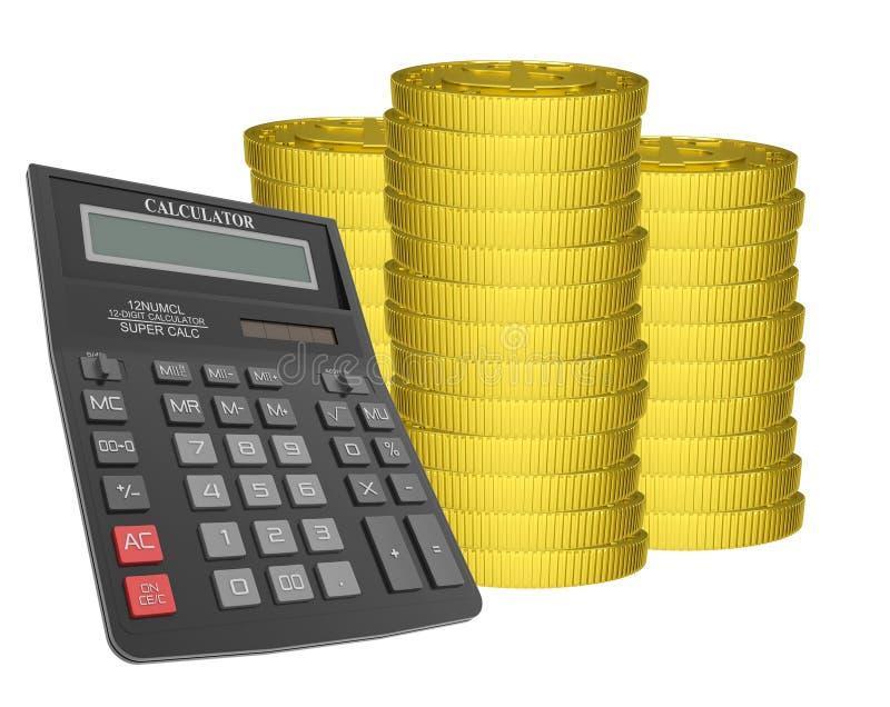 Σωροί των χρυσών νομισμάτων με τον υπολογιστή διανυσματική απεικόνιση