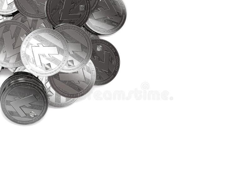 Σωρός ασημένιου Litecoins στην τοπ-αριστερή γωνία που απομονώνεται στο διάστημα λευκού και αντιγράφων για το κείμενό σας διανυσματική απεικόνιση