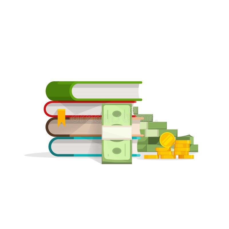 Σωρός βιβλίων με το σωρό των μετρητών, διανυσματική έννοια εκμάθησης νομισμάτων απεικόνιση αποθεμάτων