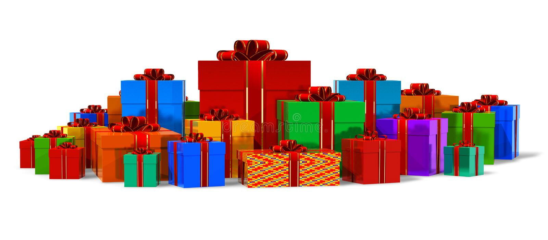 σωρός δώρων χρώματος κιβωτ απεικόνιση αποθεμάτων