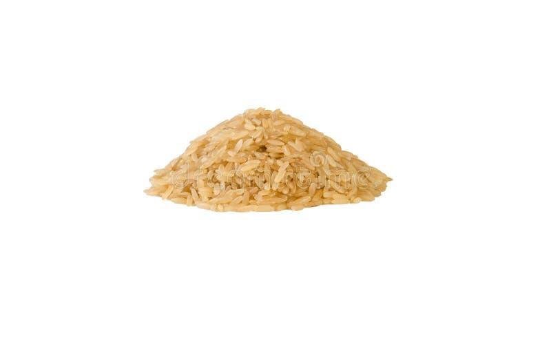 Σωρός καφετιού ρυζιού που απομονώνεται στο άσπρο υπόβαθρο διατροφή φυσικό συστατικό τροφίμων r στοκ εικόνες