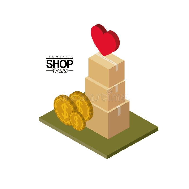 Σωρός κουτιών από χαρτόνι με τα νομίσματα και καρδιά στην κορυφή πέρα από το πράσινο isometric κατάστημα αφισών πατωμάτων ζωηρόχρ ελεύθερη απεικόνιση δικαιώματος