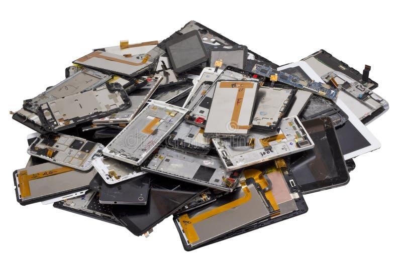 Σωρός σπασμένος telephons απομονωμένος στοκ εικόνα με δικαίωμα ελεύθερης χρήσης