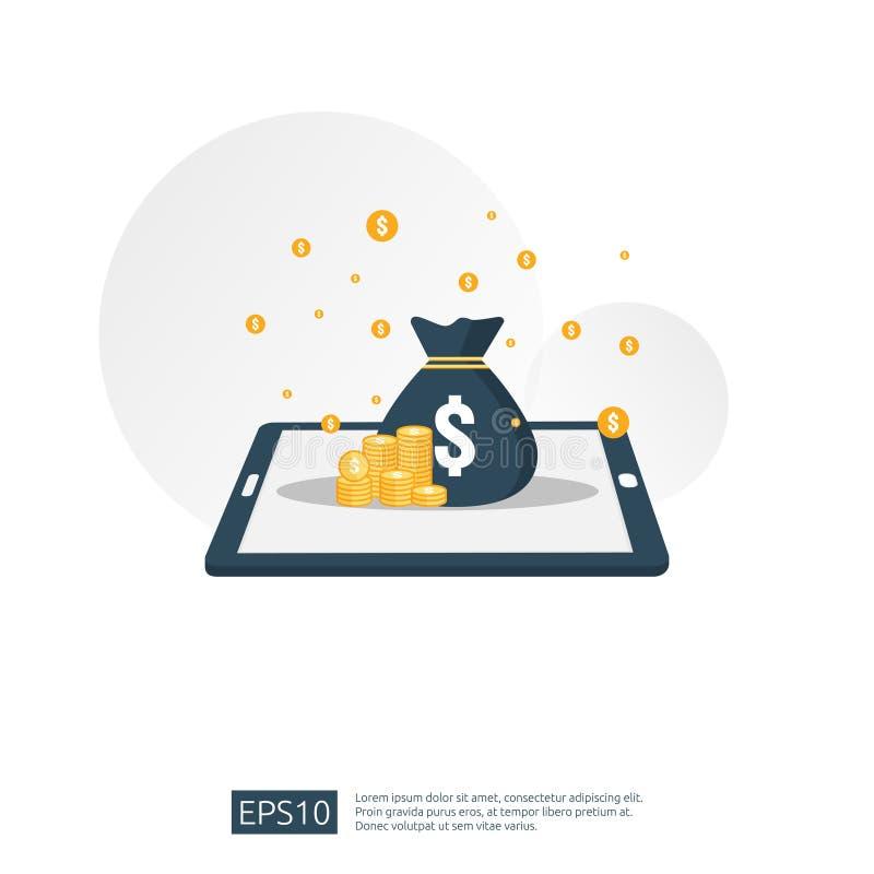 σωρός σωρών δολαρίων και τσάντα χρημάτων στο smartphone η έννοια για τη εμπορική επένδυση, ψηφιακό κινητό πορτοφόλι, τραπεζικές ε διανυσματική απεικόνιση
