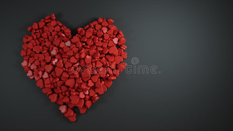 Σωρός της κόκκινης μορφής καρδιών με το κενό διάστημα για το κείμενο μαύρο Backgrou απεικόνιση αποθεμάτων