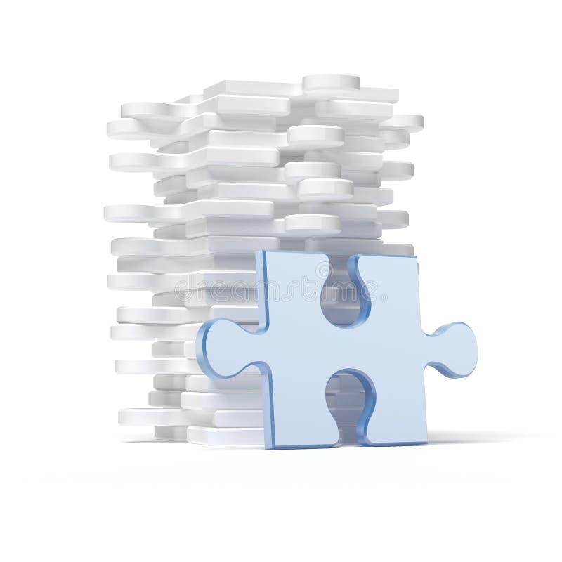 Σωρός του άσπρου γρίφου με το μπλε κομμάτι απεικόνιση αποθεμάτων