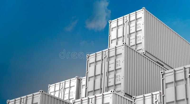 Σωρός του άσπρου κιβωτίου εμπορευματοκιβωτίων, σκάφος φορτίου φορτίου για την εισαγωγή-εξαγωγή τρισδιάστατη διανυσματική απεικόνιση