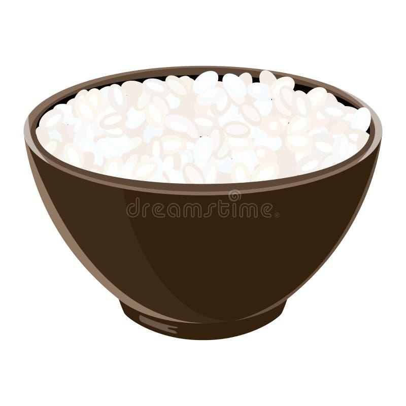 Σωρός του βρασμένου ρυζιού σουσιών στο καφετί κεραμικό κύπελλο επίσης corel σύρετε το διάνυσμα απεικόνισης Basmati, σούσια ελεύθερη απεικόνιση δικαιώματος