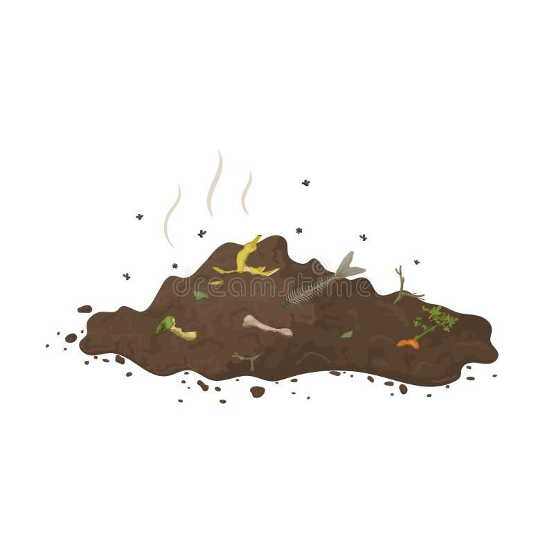 Σωρός του εδάφους με τα οργανικές απορρίματα, τις μύγες και τη μυρωδιά για την απεικόνιση του λιπάσματος, οργανικό λίπασμα, χώμα, απεικόνιση αποθεμάτων