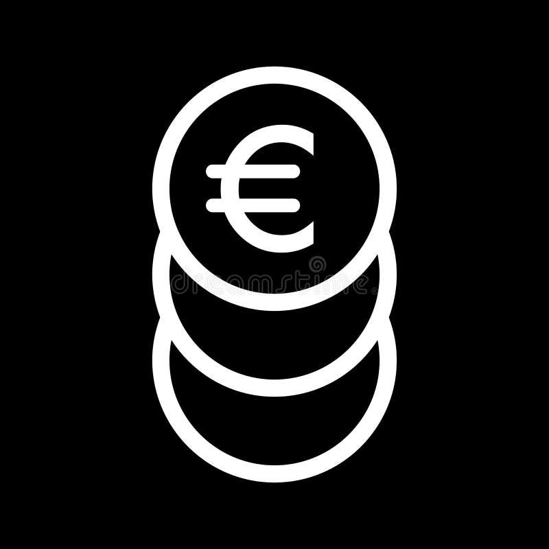 Σωρός του ευρο- διανυσματικού εικονιδίου νομισμάτων Γραπτή απεικόνιση μετρητών Γραμμικό εικονίδιο χρημάτων περιλήψεων ελεύθερη απεικόνιση δικαιώματος