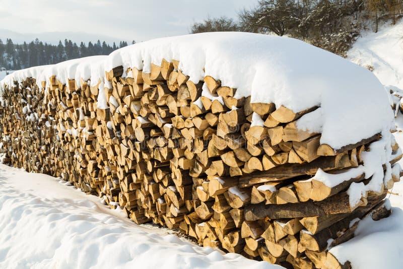 Σωρός του καυσόξυλου στο χιόνι στοκ φωτογραφία με δικαίωμα ελεύθερης χρήσης