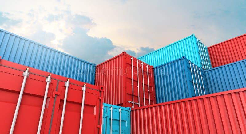 Σωρός του κιβωτίου εμπορευματοκιβωτίων, σκάφος φορτίου φορτίου για την εισαγωγή-εξαγωγή τρισδιάστατη ελεύθερη απεικόνιση δικαιώματος