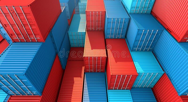 Σωρός του κιβωτίου εμπορευματοκιβωτίων, σκάφος φορτίου φορτίου για την εισαγωγή-εξαγωγή τρισδιάστατη διανυσματική απεικόνιση