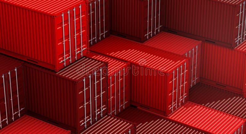 Σωρός του κόκκινου κιβωτίου εμπορευματοκιβωτίων, σκάφος φορτίου φορτίου για την εισαγωγή-εξαγωγή τρισδιάστατη διανυσματική απεικόνιση