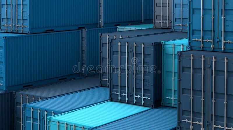 Σωρός του μπλε κιβωτίου εμπορευματοκιβωτίων, σκάφος φορτίου φορτίου για την εισαγωγή-εξαγωγή τρισδιάστατη διανυσματική απεικόνιση