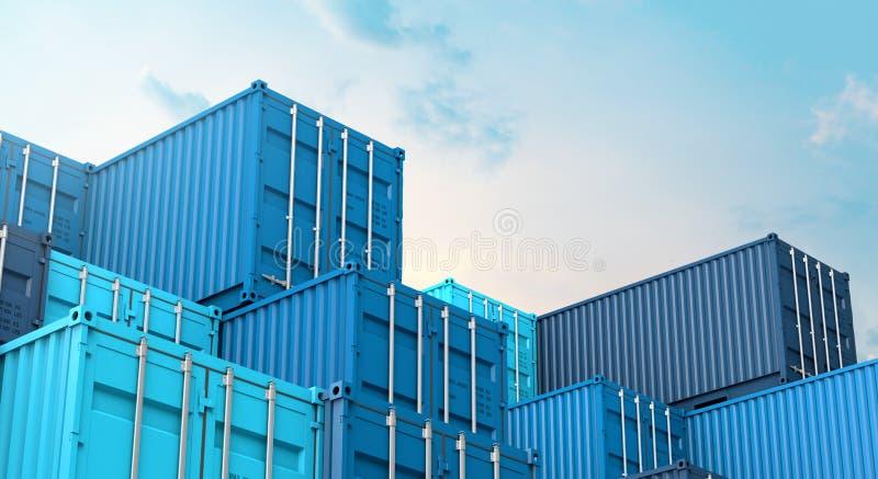 Σωρός του μπλε κιβωτίου εμπορευματοκιβωτίων, σκάφος φορτίου φορτίου για την εισαγωγή-εξαγωγή τρισδιάστατη ελεύθερη απεικόνιση δικαιώματος