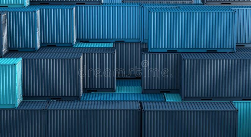 Σωρός του μπλε κιβωτίου εμπορευματοκιβωτίων, σκάφος φορτίου φορτίου για την εισαγωγή-εξαγωγή τρισδιάστατη απεικόνιση αποθεμάτων
