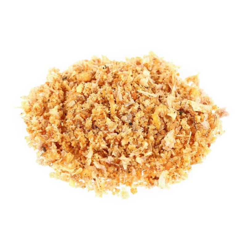 σωρός του τηγανισμένου σκόρδου που απομονώνεται στο λευκό στοκ εικόνα