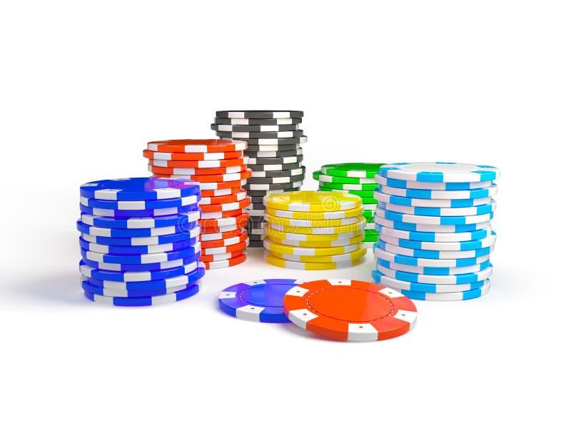 Σωρός του τσιπ χαρτοπαικτικών λεσχών που απομονώνεται στο άσπρο υπόβαθρο στοκ εικόνες
