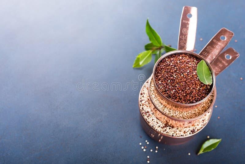 Σωρός του χαλκού τρία που μετρά τα φλυτζάνια με μικτό ακατέργαστο quinoa στοκ φωτογραφία με δικαίωμα ελεύθερης χρήσης