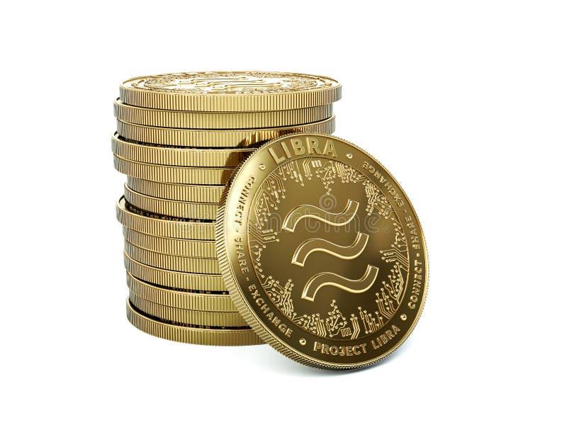 Σωρός του cryptocurrency Libra με ένα νόμισμα που αντιμετωπίζει προς o Νομίσματα έννοιας r απεικόνιση αποθεμάτων